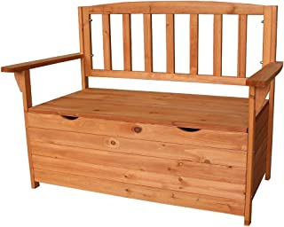 HomVent Wood Patio Storage Bench Garden Storage Bench Seat, Outdoor Patio Furniture Cabinet Storage Bench Deck Box with Chair Backrest