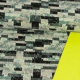 Softshell Stoff grafisches Muster grün neongelb Modestoffe