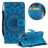 Gurt Brieftasche für Huawei P30 Lite,Blau Handyhülle für Huawei P30 Lite,Moiky Ziemlich Schöne Mandala Sonnenblume Geprägt Klappbar Kartenfächer Stoßdämpfende Ledertasche mit Stand -