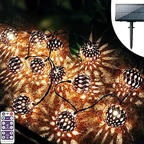Moroccan Solar Lights Outdoor,Upgrade Brightness Outdoor Decorative String Lights,Decorative Big Mosaic Ball Hanging String Lights for Garden,Porch,Balcony,Halloween,Christmas Decoration