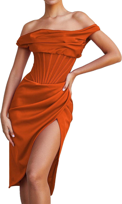 LINGLINGDING Women Sexy Push Up Bustier Corset Satin Dress Midi Dress Off Shoulder High Split Bodycon Party Dress