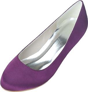 Vimedea Womens Low Heel Slip On Pumps Bride Party Dress Round Toe 9001-01