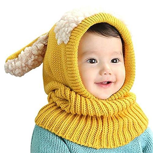Baby Girls Boys Toddler Winter Hat Scarf Set Cutest Earflap Hood Warm Knit  Hat Scarves with c144b87eada8