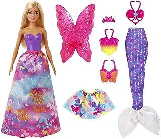 Barbie Dreamtopia poupée Papillons coffret 3-en-1 blonde avec trois tenues roses de princesse, sirène et fée, jouet pour e...