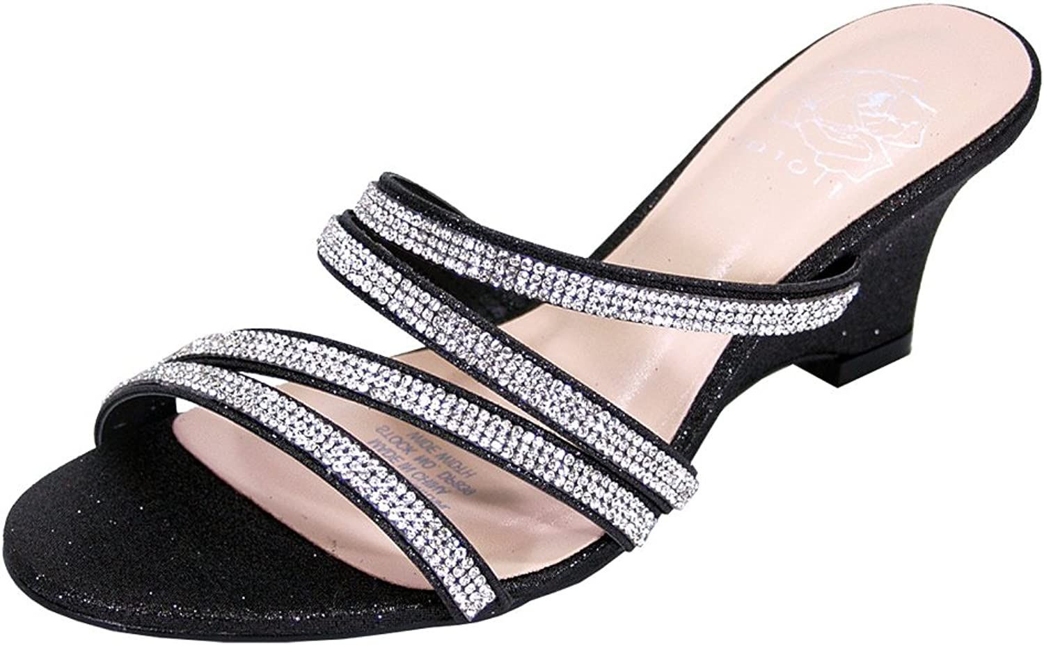 Floral Kelly Women Wide Width Rhinestone Strappy Slip On Wedge Heeled Party Sandals (Size Measurement)