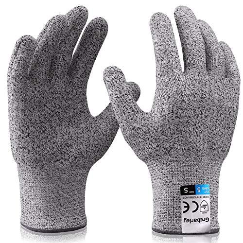 Grebarley Schnittschutzhandschuhe,Arbeitshandschuhe,Küchen Handschuhe,Level 5 Schutz,Lebensmittelecht,EN388 Zertifiziert,Gestrickt Handschuhe für Gartenbau/Baustelle/Küche,Grau 1Paar