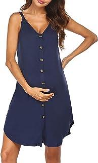 Oyolan Womens Sleeveless Button Down Nursing Nighties Maternity Dress Nightdress Breastfeeding Sleepwear Gowns