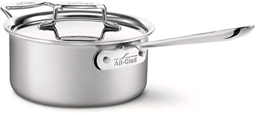 All-Clad BD55201.5 Brushed d5 Stainless Steel 5-Ply Bonded Dishwasher Safe Sauce Pan / Cookware, 1.5-Quart, Silver 3-quart Metallic BD55203