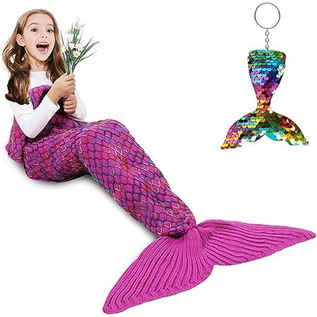 Mermaid Tail Blanket, Amyhomie Mermaid Blanket Soft Crochet Sleeping Snuggle Blanket for Kids Adults, Mermaid Gift for Girls(Rainbow,Kids)
