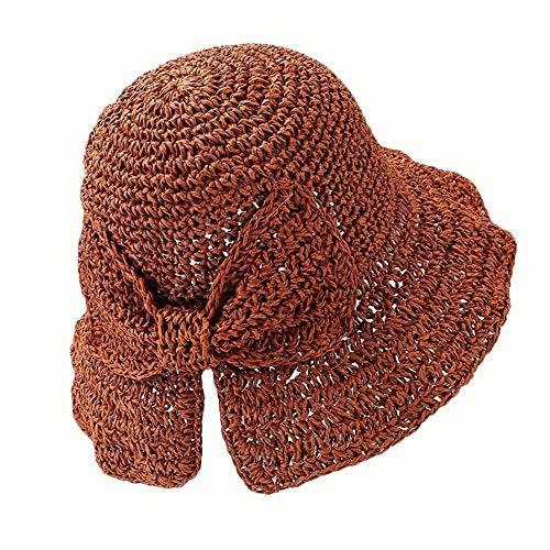 Yi-xir diseño Playa Nueva Playa Crochet Chaff Hat Squism Bow Visor combinación (Color : Caramel, Size : 56-58CM)