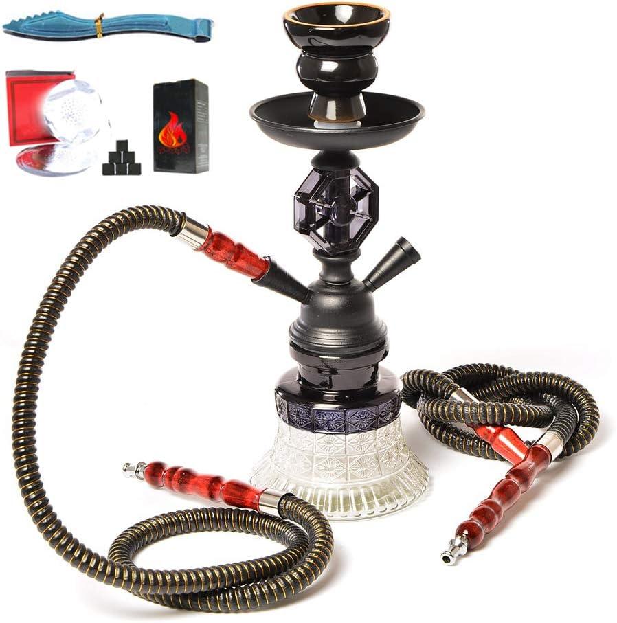 JHKJ Hookah Set 2-Hose Pipe con Un Tazón de Cerámica, Clip de Carbono, Lámina de Aislamiento Térmico para Better Shisha Hookah Smoking Deluxe Shisha,Negro