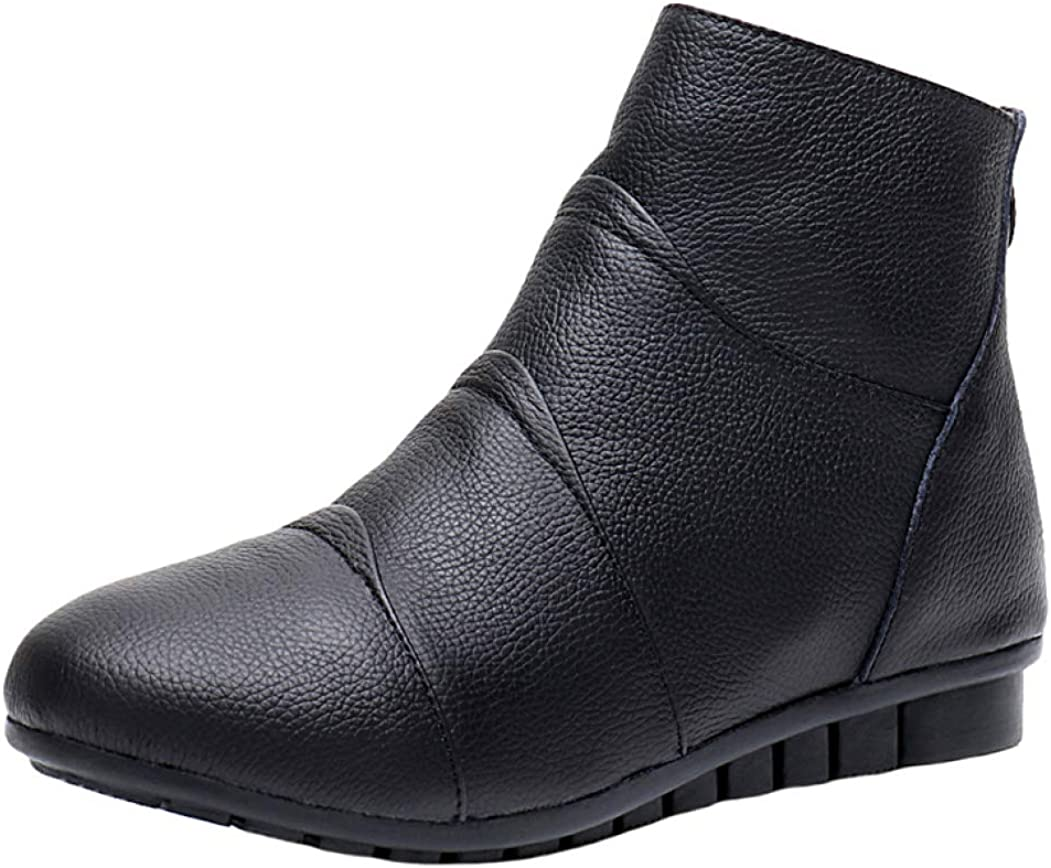 MENGOU Women's Fashion Nippon regular agency Flat NEW before selling ☆ Dressy Ankle Round Boots Soft Si Toe