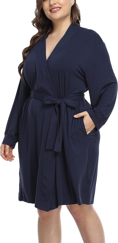Womens Cotton Robe Lightweight Bathrobe Plus Size Short Soft Sleepwear Spa Robe Loungewear