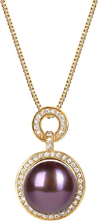 Women's Pearl Pendant Necklace with Single 12-13 mm...
