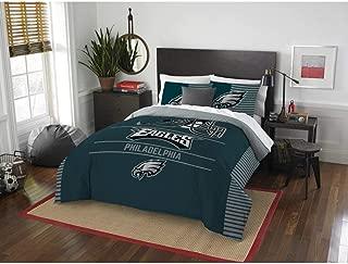 3 Piece NFL Philadelphia Eagle Comforter Full Queen Set, Sports Patterned Bedding, Featuring Team Logo, Fan Merchandise, Team Spirit, Football Themed, National Football League, Blue White,For Unisex