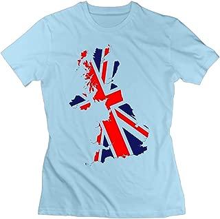 Women's Flag Map of UK Short Sleeve Slim Fit Design T-Shirt