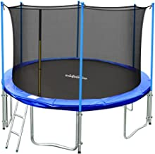 Zupapa 15FT 14FT 12FT TUV Approved Kids Trampoline with Enclosure net, Ladder Pole Safety Pad Jumping Mat Spring Pull T-Hook, Include All Accessories, Great Outdoor Backyard Trampoline