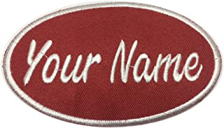 Lan Stang Custom Embroidered Name Patch Uniform Name Tag Personalized Label Iron On Sew On 2x4 inches (Red-Oval)