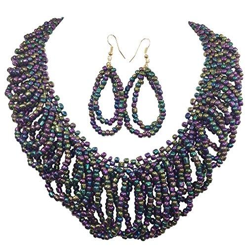 Multi Color Iridiscente perlas lágrima Loops Funda Look declaración collar & pendientes Set