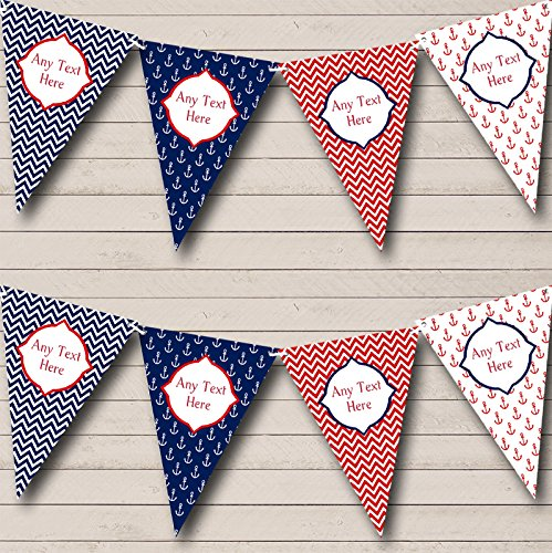 Red White Blue Nautical Anchor Chevron Birthday Bunting Party Banner Decoration Garland