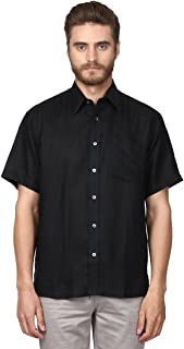 Colorplus Half Sleeve Regular Collar Classic Fit Black Linen Solid Shirt for Men