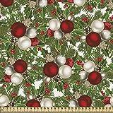 ABAKUHAUS Weihnachten Stoff als Meterware, Bälle Holly