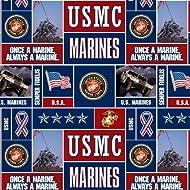 Sykel Enterprises Military Fleece U.S. Marines Blocks Fabric by The Yard, Multi