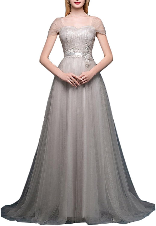 Emmani Women's Offtheshoulder Aline Long Train Tulle Evening Dresses