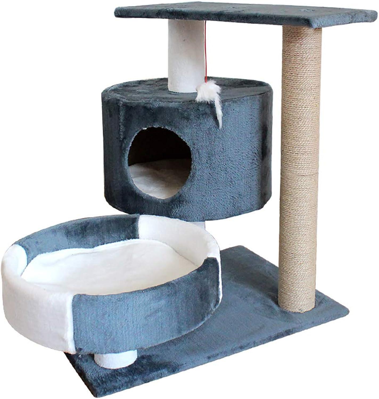 Cat Tree Cat Apartment 3rd Floor Cat Climbing Frame, Cat Tree Scratch Post (color   bluee)