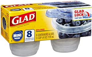 Glad Mini Round Containers with Lids, 8s