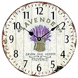 Wood Wall Clock 12Vintage French Country Print Lavender in Tin Romantic Shabby Chic Large Decorative Roman Numerals Analog Battery Operated Silent for Home Decoration (Lavender Purple)