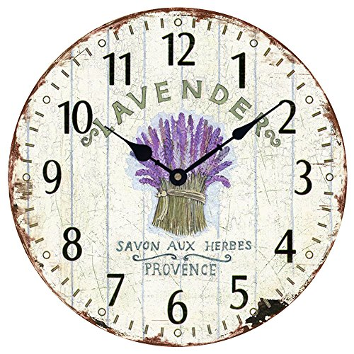 Wood Wall Clock 12'Vintage French Country Print Lavender in Tin Romantic Shabby Chic Large Decorative Roman Numerals Analog Battery Operated Silent for Home Decoration (Lavender Purple)