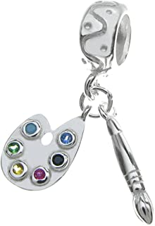 Sterling Silver Cubic Zirconia Crystal Art Palette with Brush European Dangle Bead Charm