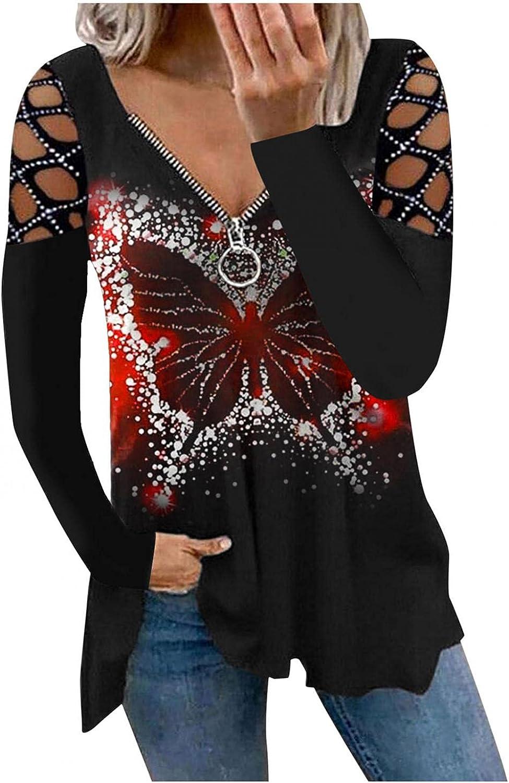 Hemlock Women Zipper V Neck Tops Crystal Cold Shoulder Pullovers Halloween Shirts Autumn Tops