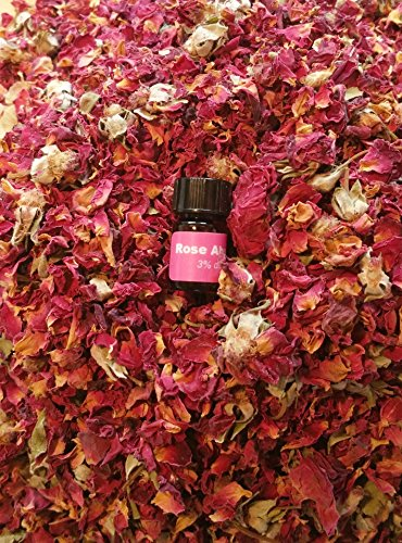 bMAKER Dried Rose Buds& Petals Red - 1 Pound Edible Flowers - Use in Tea, Baking, Making Rose Water, Crafting, Wedding Confetti - Included Sample Bottle of Rose Absolute Essential Oil
