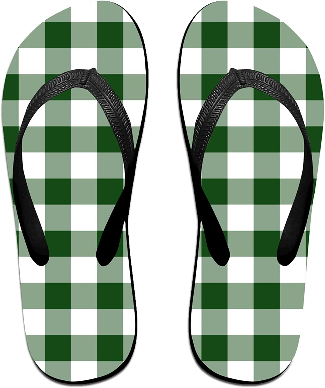 Women's Men's Flip Flop Slippers All stores are sold Genuine Free Shipping And Gingham Patte Green White
