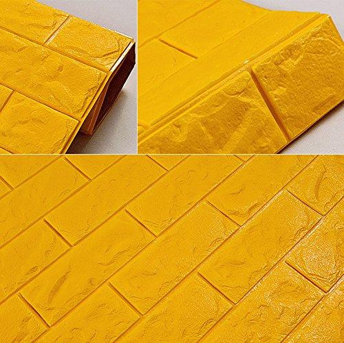 MultiKing Behang 3D-Brick Wall Sticker woonkamer slaapkamer kinderkamer waterdicht schuim zelfklevend behang, goud