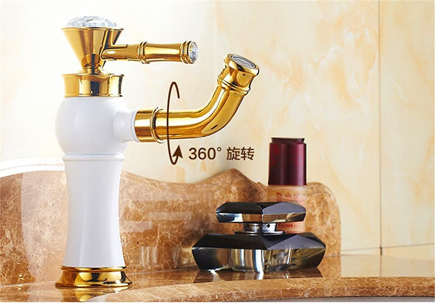 BDYJY ※ Bathroom Sink Faucets Retro Antique Oven Painting 360 ° Sink Mixer Sink Faucet Kitchen Faucets