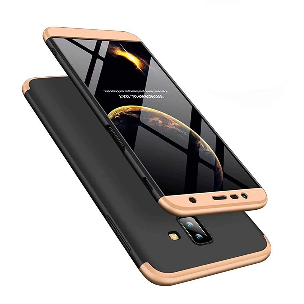COTDINFORCA Samsung Galaxy J8 2018 Case, 3 in 1 Ultra Thin Hard PC Case Premium Slim 360 Degree Full Body Protective Shockproof Cover for Samsung Galaxy J8 (2018). 3 in 1- Gold + Black