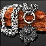 puuuk NóRdico Vikingo Lobo Cabeza Collar, Vikingo Lobo Colgante Hombres Inoxidable Odin TalismáN éTnico Joyas,50cm/20inch