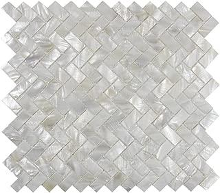 Vogue Tile Genuine Mother of Pearl Oyster Herringbone Shell Mosaic Tile for Kitchen Backsplashes, Bathroom Walls, Spas, Pools (Full Sheet)