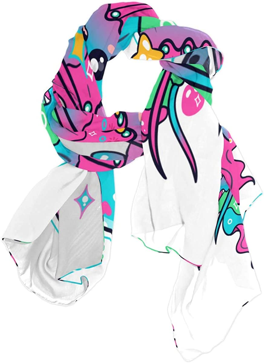 Womens Scarf Summer Kawaii Ocean Luminescent Jellyfish Shawl Scarf Lightweight Lightweight Wrap Scarf Lightweight Print Scarves Womens Fashion Scarf Shawl And Wraps For Women