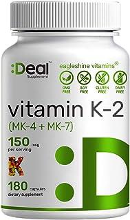 Vitamin K2 MK-7 (Menaquinone-7) Plus MK-4 (Menaquinone-4), 150 mcg Per Serving, 180 Capsules, Supports Bone Health & Cardi...