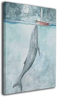 Watercolor Art Whale Sailboat Canvas Prints Wall Art Wooden Frame Abstract Paintings - Stretched and Framed Ready to Hang 32