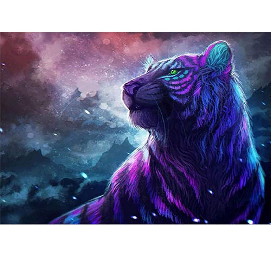 SparkLia 5D Full Drill DIY Diamond Painting Kit for Adults and Children,Round Rhinestone Painting Embroidery for Art Craft Home Decoration (Colorful Tiger, 11.8