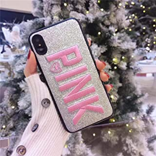 Women Victorias Pink Glitter Star Sand Phone Case for iPhone 6 6s 7 8 Plus X Xs Max Xr Soft Embroidery Angel Secret Cover Fundas 1 for iPhone XR