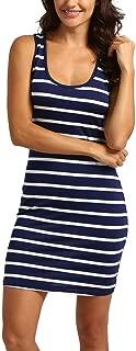 Stripe Dress Knee Length Women Beach Racerback Sleeveless Sundress Boatneck