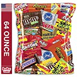 Candy and Chocolate Party Bag Mix Variety M&Ms, Reeses, Snickers, Almond Joy, Kit Kat, 100 Grand, Twix, Milky Way, Sour Patch, Skittles, Starburst, Swedish Fish, Haribo, and More (64 Ounce)