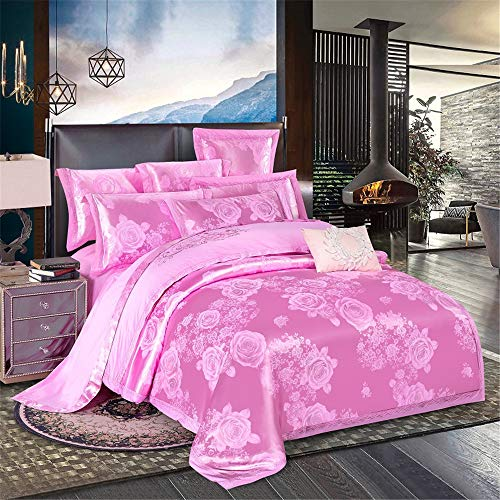 KHDJ Satin Jacquard Paisley Bedding Sets Include 1 Duvet Cover 1 Flat Sheet 2 throw pillow covers,rose,220 * 240CM