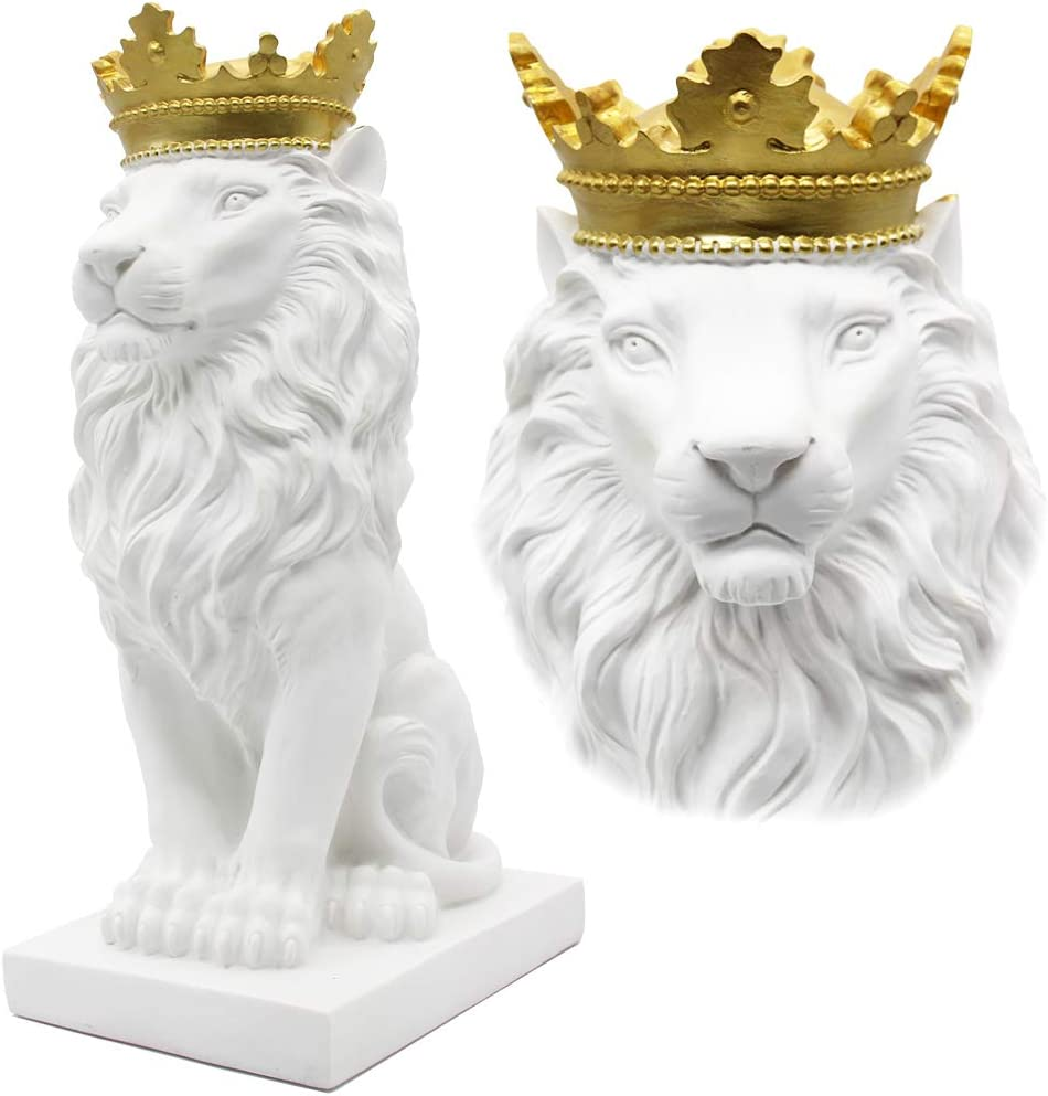 HW 15''H Crown Lion King Statue Austin Mall Study Style Home Tucson Mall Nordic De and